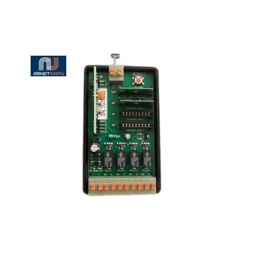 GardenGate 4 csatornás, 434 MHz ugrókódos vevő, 12V/24Vac-dc, záró kontaktusú
