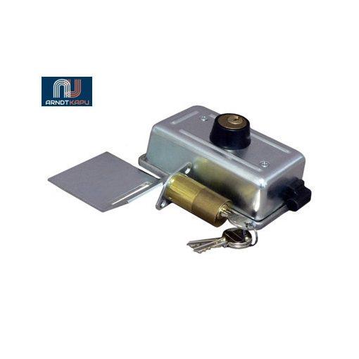 PROTECO önfelhúzónyelves elektromos zár szányaskapukhoz, dupla cilinderrel, 50 mm hosszú külső c