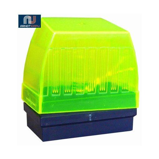 PROTECO lámpa, sárgás-zöld búra, 1db 24V/10W izzóval, méret 110x105x65 mm, 24V, olasz, 2 év garanc