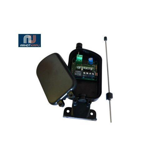 PROTECO 1 csatornás vevö, 433 MHz, AM, 12Vac-dc, 9 kód - Impulzusos, relés kimenet, max 200mA terh
